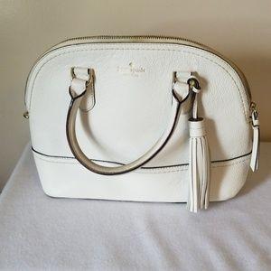 Kate spade white leather tote purse